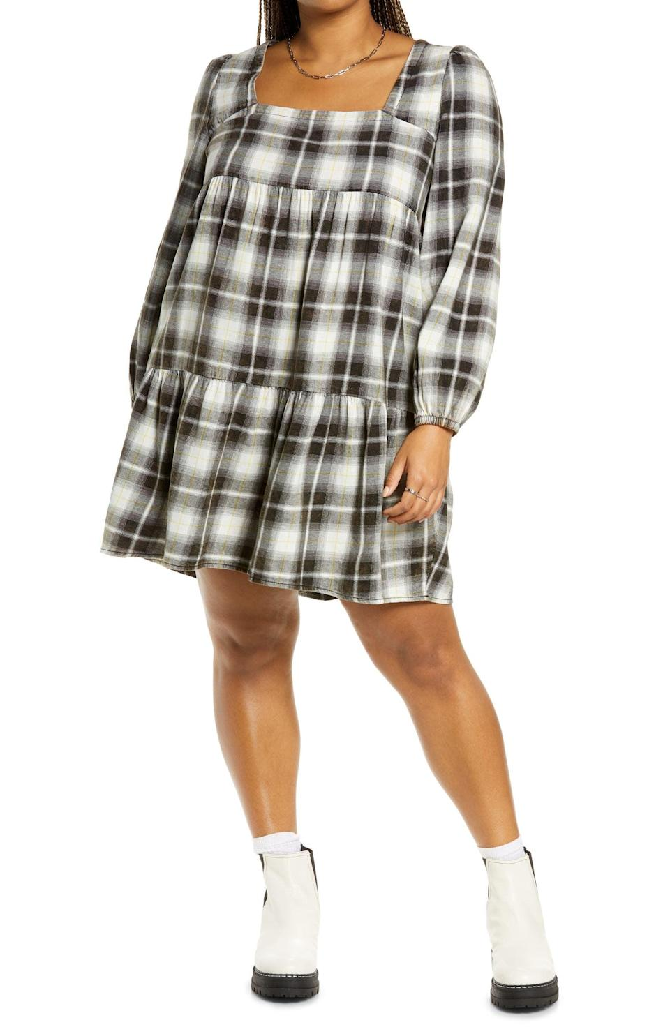 <p>This bold <span>BP. Plaid Long Sleeve Minidress</span> ($45) packs a retro and effortlessly cool attitude. Pair it with chunky boots to dial up the edginess.</p>