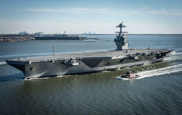 In this handout photo provided by the U.S. Navy, the future USS Gerald R. Ford is seen underway on its own power for the first time in 2017 in Newport News, Virginia. The first new U.S. aircraft carrier design in 40 years will likely end up costing well over $12 billion. (Photo: U.S. Navy via Getty Images)