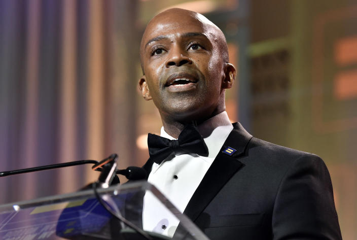Human Rights Campaign President Alphonso David at the 37th annual HRC New England dinner on Saturday, Nov. 23, 2019 in Boston. The HRC New England dinner brings hundreds of LGBTQ advocates and allies together for an evening of celebration across greater New England.(Josh Reynolds/AP Images for Human Rights Campaign)