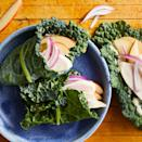 """<p>Using kale leaves instead of bread to wrap your filling makes this healthy chicken lunch recipe low-calorie (and lower in carbs!). If you can't find lacinato (aka Tuscan) kale, try cabbage for your wrap. <a href=""""http://www.eatingwell.com/recipe/258089/chicken-apple-kale-wraps/"""" rel=""""nofollow noopener"""" target=""""_blank"""" data-ylk=""""slk:View recipe"""" class=""""link rapid-noclick-resp""""> View recipe </a></p>"""