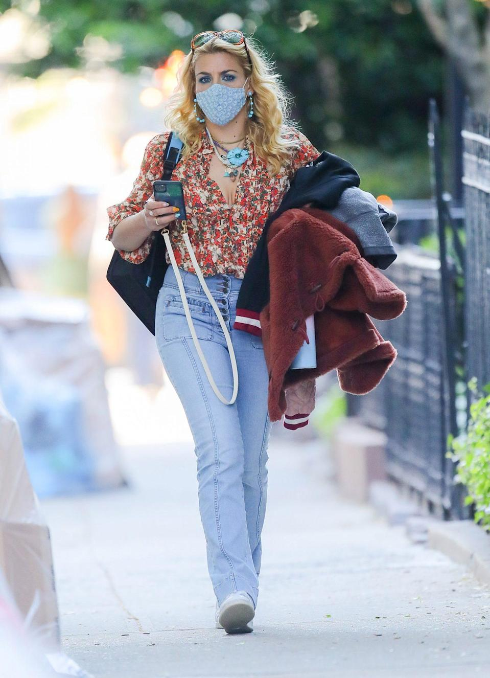 <p>Busy Philipps is ready for spring in her coordinating florals in New York City on Monday. </p>