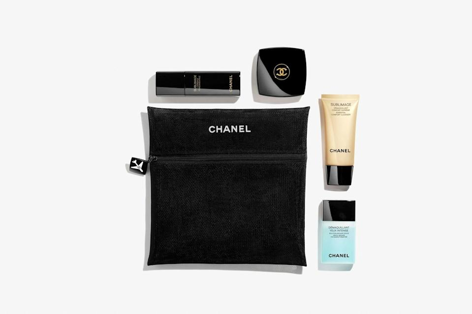 """Stress can affect you in many ways, but one of the most noticeable ways is on your skin (think: breakouts and wrinkles), which can then cause even more stress. This Chanel skincare set allows you to pamper your skin wherever you go. It features four TSA-friendly products from the luxury brand's Sublimage LE line—an eye makeup remover, cleanser, serum, and moisturizer—all stored in a signature pouch. Each product works to target anti-aging, and the formulas include ingredients like planifolia fruits, camellia oil, and shea butter. Use this skincare ritual daily for luminous, hydrated, and buttery-soft skin. $425, Chanel. <a href=""""https://www.chanel.com/us/skincare/p/141730/sublimage-le-voyage-regenerating-skincare-travel-ritual/?"""" rel=""""nofollow noopener"""" target=""""_blank"""" data-ylk=""""slk:Get it now!"""" class=""""link rapid-noclick-resp"""">Get it now!</a>"""