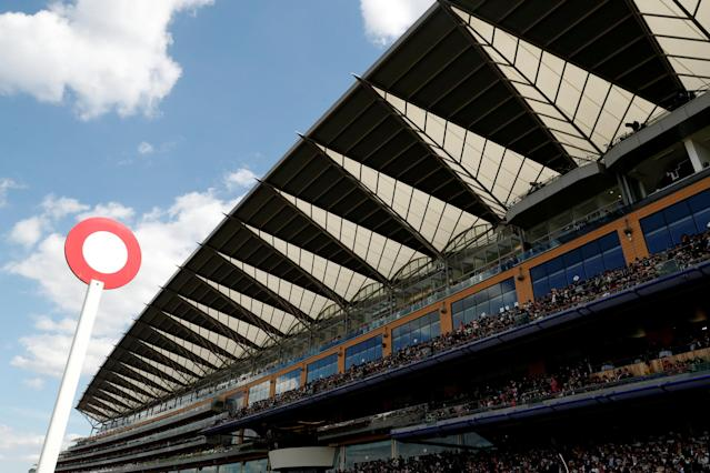 Horse Racing - Royal Ascot - Ascot Racecourse, Ascot, Britain - June 21, 2018 General view of the grandstand during the 3.05 Hampton Court Stakes Action Images via Reuters/Andrew Boyers