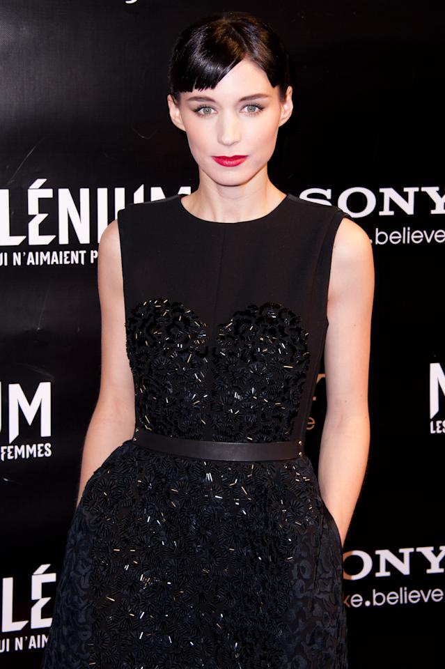 Rooney Mara attends the 'Millenium: The Girl With The Dragon Tattoo' Paris Premiere at Cinema UGC Normandie on January 3, 2012 in Paris, France. (Photo by Francois Durand/Getty Images)