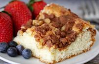 "<p>This cinnamon sour cream coffee cake is similar to kuchen, one of the <a href=""https://www.thedailymeal.com/cook/iconic-state-desserts-gallery?referrer=yahoo&category=beauty_food&include_utm=1&utm_medium=referral&utm_source=yahoo&utm_campaign=feed"" rel=""nofollow noopener"" target=""_blank"" data-ylk=""slk:most iconic desserts in the country"" class=""link rapid-noclick-resp"">most iconic desserts in the country</a>. Boxed cake mix is made new again by adding sour cream to the cake's base as well as a cinnamon crumb topping.</p> <p><a href=""https://www.thedailymeal.com/best-recipes/sour-cream-coffee-cake?referrer=yahoo&category=beauty_food&include_utm=1&utm_medium=referral&utm_source=yahoo&utm_campaign=feed"" rel=""nofollow noopener"" target=""_blank"" data-ylk=""slk:For the Cinnamon Sour Cream Coffee Cake recipe, click here."" class=""link rapid-noclick-resp"">For the Cinnamon Sour Cream Coffee Cake recipe, click here.</a></p>"