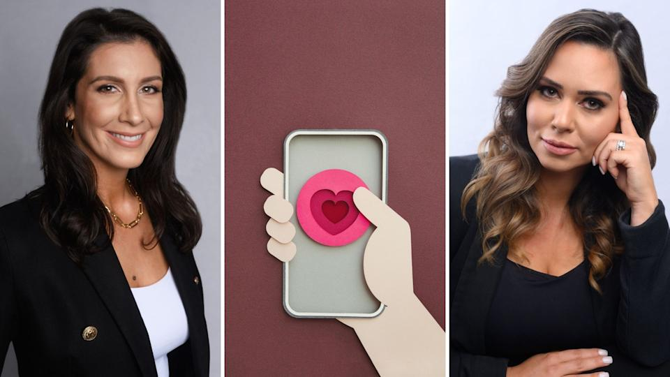 Melanie Leahy smiles at camera, computer generated graphic of hand holding phone with love heart in dating app concept, Elisse Alexander looks at camera.