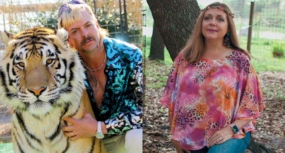 "A ""Tiger King"" editor has offered behind-the-scenes scoop on Joe Exotic and Carole Baskin. (Photo: Netflix)"