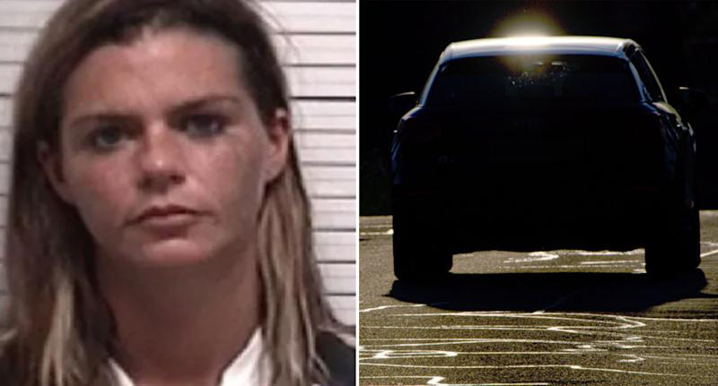 Pictured left is Megan Dauphin's mug shot. Right is a stock image of a car on a hot road.