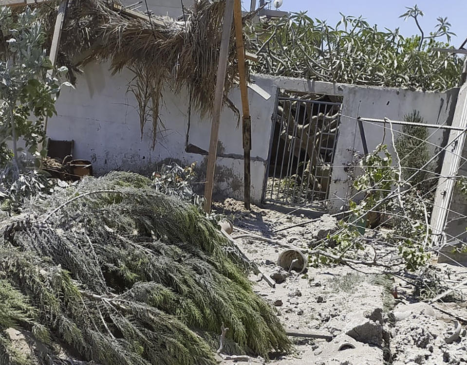 Debris from an Israeli airstrike scatters the family farm of Associated Press journalist Fares Akram on Friday, May 14, 2021, in the northern Gaza Strip. (Fares Akram via AP)