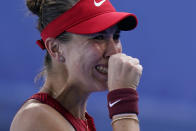Belinda Bencic, of Switzerland, reacts after defeating Anastasia Pavlyuchenkova, of the Russian Olympic Committee, in the quarterfinal round of the women's tennis competition at the 2020 Summer Olympics, Wednesday, July 28, 2021, in Tokyo, Japan. (AP Photo/Patrick Semansky)