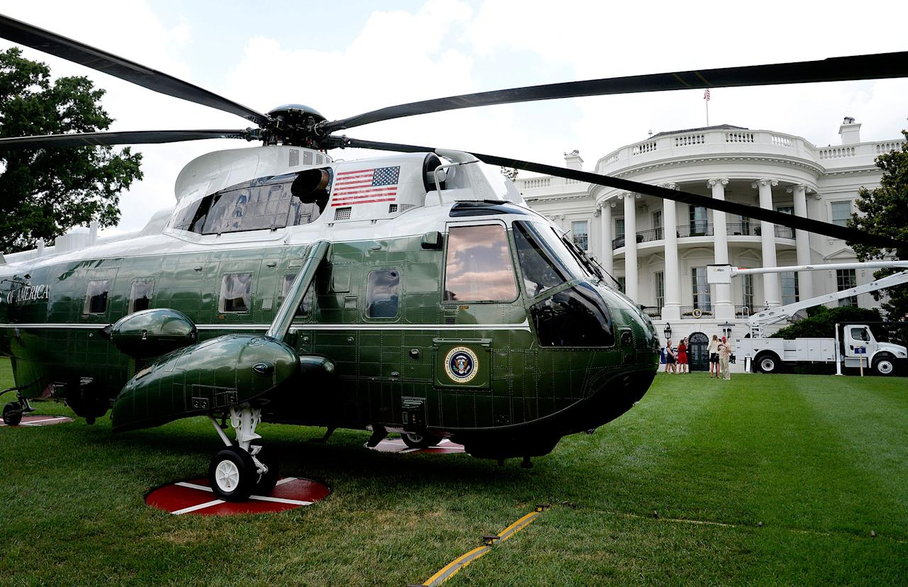 """<p>U.S.-made products from all 50 states including Marine Corps VH-3 Sea King, operating as Marine One from Sikorsky, are on display on the South Lawn of the White House as part of a """"Made in America"""" product showcase event in Washington, D.C., July 17, 2017. (Olivier Douliery/AFP/Getty Images) </p>"""