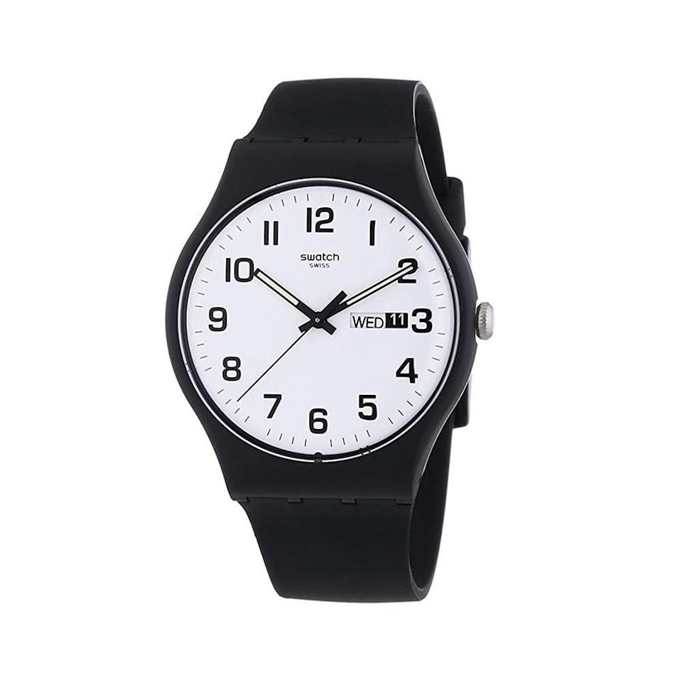 """<p><strong>Swatch</strong></p><p>amazon.com</p><p><a href=""""https://www.amazon.com/dp/B00EMUR0UW?tag=syn-yahoo-20&ascsubtag=%5Bartid%7C2139.g.36673991%5Bsrc%7Cyahoo-us"""" rel=""""nofollow noopener"""" target=""""_blank"""" data-ylk=""""slk:BUY IT HERE"""" class=""""link rapid-noclick-resp"""">BUY IT HERE</a></p><p>You can't go wrong with a basic Swatch. The hidden perks: The brand offers free battery exchanges at all its retail locations, and every watch comes with a two-year international warranty. It even ships in recycled packaging, as the cherry on top. </p>"""