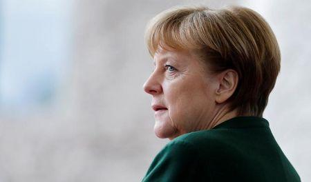 German Chancellor Merkel awaits the arrival of the new European Parliament President Tajani at the Chancellery in Berlin