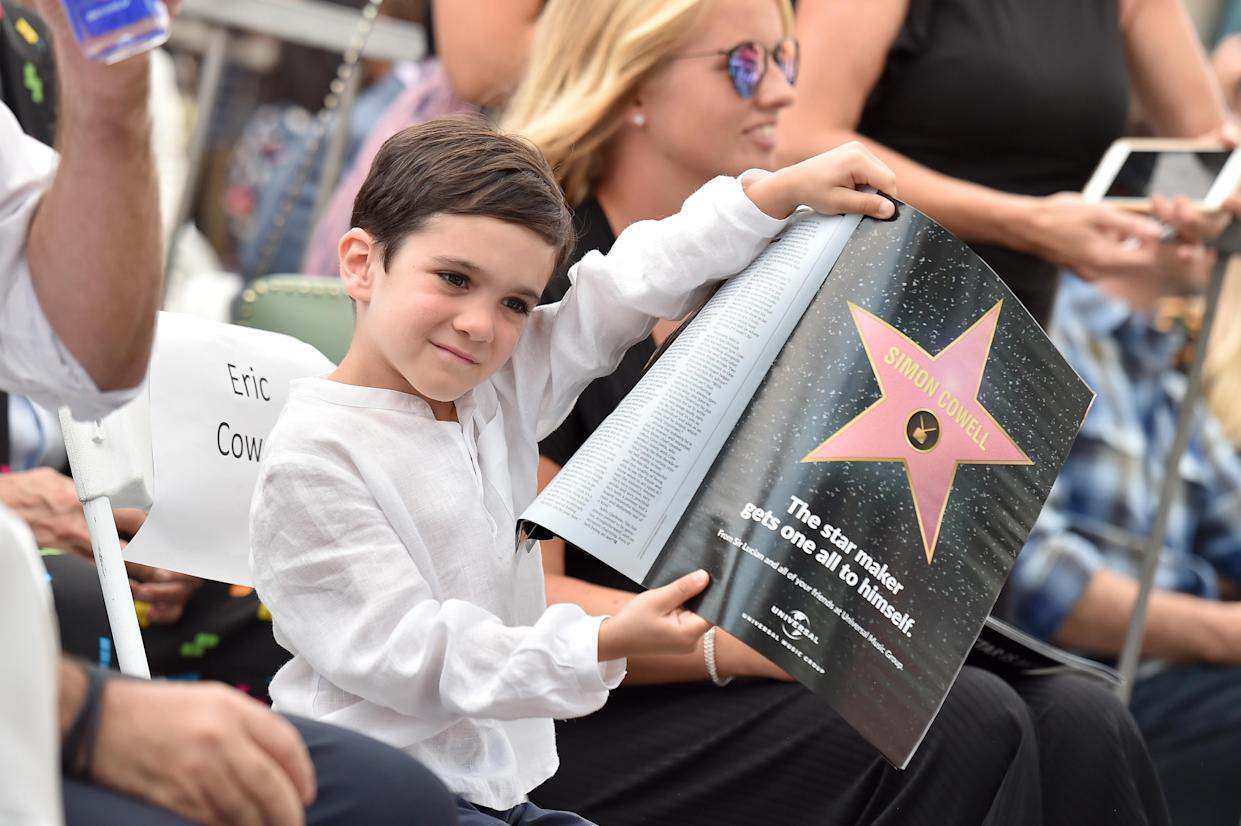 Simon Cowell's son, Eric, at Cowell's Hollywood Walk of Fame ceremony on Aug. 22, 2018. (Photo: Rich Fury/Getty Images)