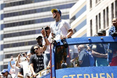 Jun 12, 2018; Oakland, CA, USA; Golden State Warriors guard Stephen Curry screams during the Warriors 2018 championship victory parade in downtown Oakland. Mandatory Credit: Cary Edmondson-USA TODAY Sports
