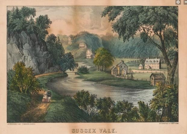 A colour lithograph of Sussex Vale Indian Day School from the mid-1870s. (Library of Congress - image credit)