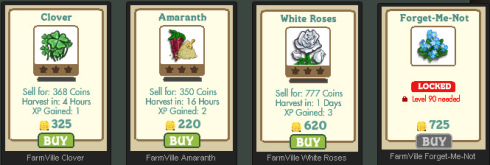 FarmVille Re-Releases Clover, Amaranth, White Roses, & Forget-Me-Not Seeds