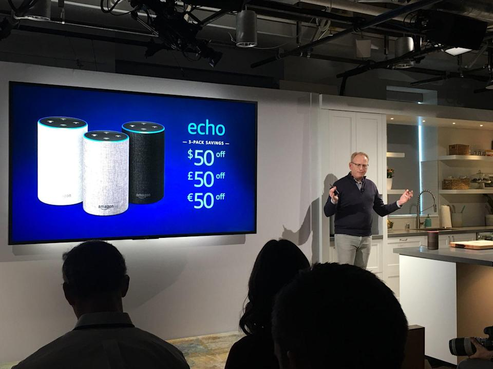 Amazon introduced a new Echo speaker, available for sale on Wednesday for $99. Source: JP Mangalindan/Yahoo Finance