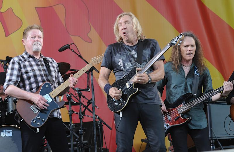 NEW ORLEANS, LA - MAY 05:  Don Henley, Joe Walsh and Timothy B. Schmit of the Eagles perform during the 2012 New Orleans Jazz & Heritage Festival - Day 6 at the Fair Grounds Race Course on May 5, 2012 in New Orleans, Louisiana.  (Photo by Rick Diamond/Getty Images)