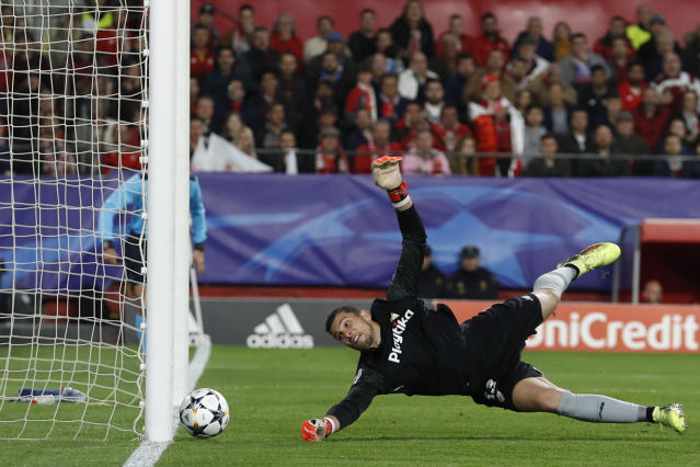 Sevilla goalkeeper David Soria watches the ball as Bayern's Franck Ribery scores his side's opening goal during the Champions League quarter final first leg soccer match between Sevilla FC and FC Bayern Munich at the Sanchez Pizjuan stadium in Seville, Spain, Tuesday, April 3, 2018. (AP Photo/Miguel Morenatti)