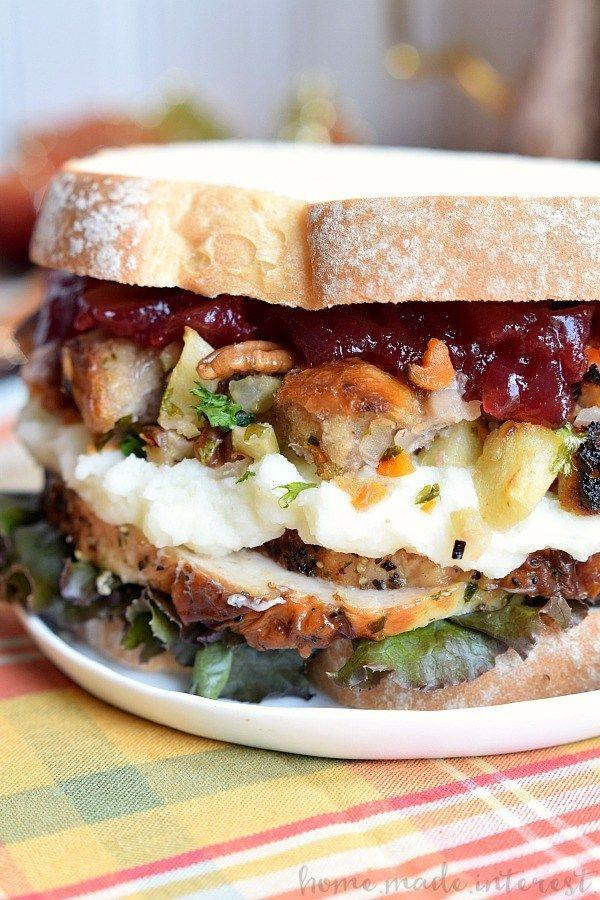 """<p>As this blogger perfectly puts it, the recipe """"is everything you love about Thanksgiving between two slices of bread!"""" We're sold!</p><p><strong>Get the recipe at <a href=""""https://www.homemadeinterest.com/thanksgiving-leftovers-sandwich/"""" rel=""""nofollow noopener"""" target=""""_blank"""" data-ylk=""""slk:Home Made Interest"""" class=""""link rapid-noclick-resp"""">Home Made Interest</a>.</strong></p><p><strong><a class=""""link rapid-noclick-resp"""" href=""""https://go.redirectingat.com?id=74968X1596630&url=https%3A%2F%2Fwww.walmart.com%2Fip%2FCorelle-Square-Simple-Lines-9-Lunch-Plate-Set-of-6%2F41275492&sref=https%3A%2F%2Fwww.countryliving.com%2Ffood-drinks%2Fg1064%2Fthanksgiving-leftovers%2F"""" rel=""""nofollow noopener"""" target=""""_blank"""" data-ylk=""""slk:SHOP PLATES"""">SHOP PLATES</a><br></strong></p>"""