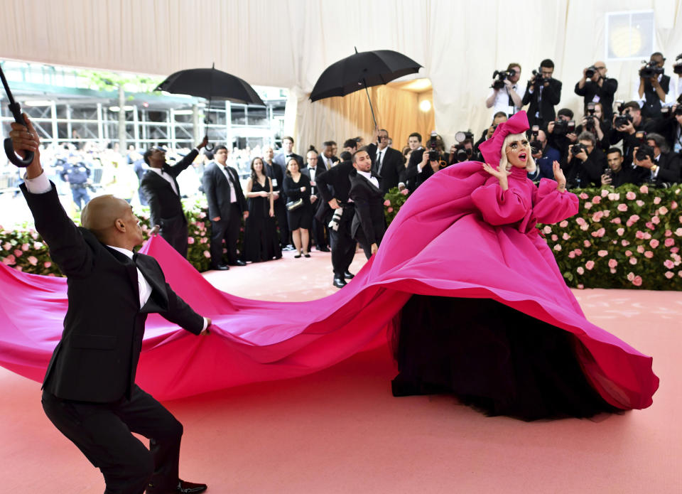 The 'Star is Born' actress was lauded as the celeb to watch in this year's Met fashion stakes - and she didn't disappoint, turning up in a show-stopping Brandon Maxwell design which was the first of four looks. Photo: Getty Images