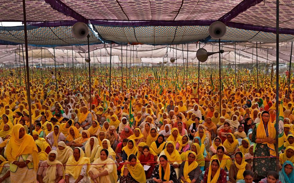 Women farmers attend a protest against farm laws in India - Danish Siddiqui/Reuters