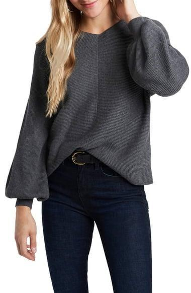 <p><span>1.STATE Ribbed Balloon Sleeve Cotton Blend Sweater</span> ($40, originally $69)</p>