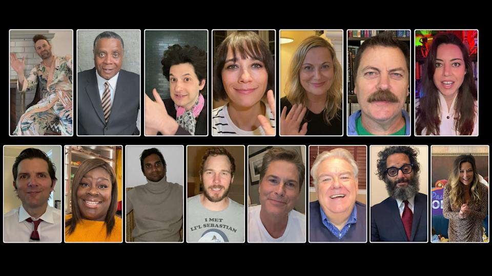 The cast of <em>Parks and Recreation</em> reunited for a quarantine special benefitting charity. (Photo by: NBC)
