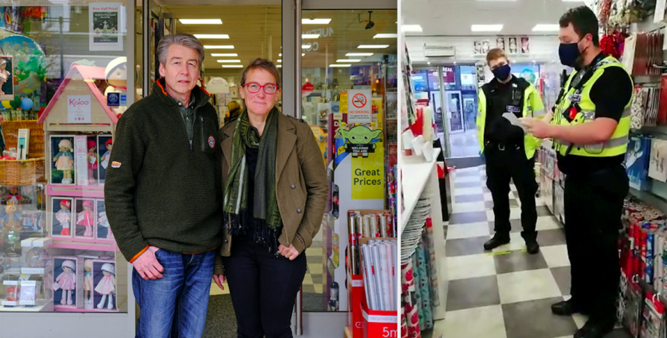 Alasdair and Lydia Walker-Cox (left) have refused to shut their shop despite a fine and a visit from police officers (right). (SWNS)