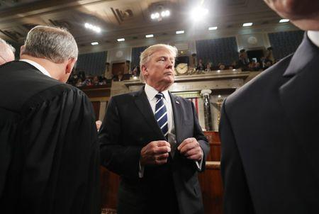 US President Trump departs after address to Joint Session of Congress in Washington