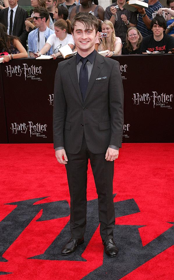 """<a href=""""http://movies.yahoo.com/movie/contributor/1802866080"""">Daniel Radcliffe</a> at the New York City premiere of <a href=""""http://movies.yahoo.com/movie/1810004624/info"""">Harry Potter and the Deathly Hallows - Part 2</a> on July 11, 2011."""