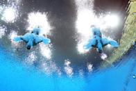 LONDON, ENGLAND - JULY 29: Francesca Dallape and Tania Cagnotto of Italy compete in the Women's Synchronised 3m Springboard final on Day 2 of the London 2012 Olympic Games at the Aquatics Centre at Aquatics Centre on July 29, 2012 in London, England. (Photo by Al Bello/Getty Images)
