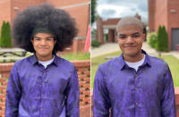 This photo combo of images taken Saturday, May 29, 2021, and provided by Gregg Gelmis, shows Kieran Moïse, 17, before and after having his 19-inch hair cut and donated to the nonprofit Children With Hair Loss, which provides human hair replacements to children and teenagers facing medically-related hair loss, in Huntsville, Ala. (Courtesy of Gregg Gelmis via AP)