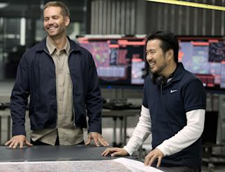 Justin Lin, right, and Paul Walker on the set of 'Fast & Furious 6'