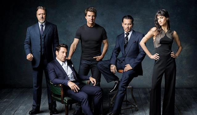 "The stars of Universal's planned ""Dark Universe."" From Left: Russell Crowe, Javier Bardem, Tom Cruise, Johnny Depp, and Sofia Boutella (Photo: Universal)"