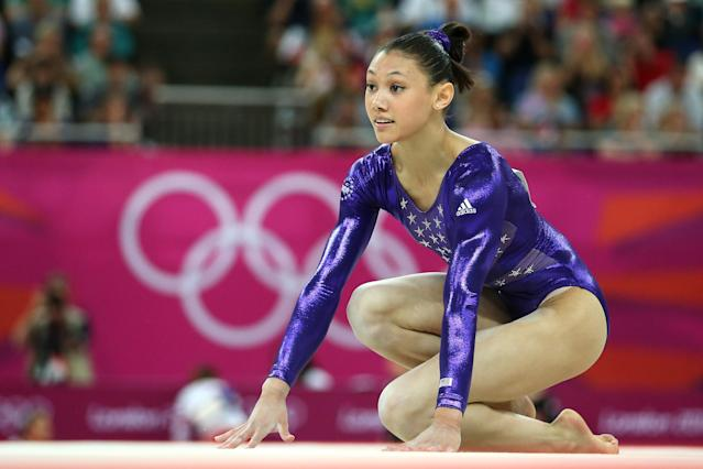 Kyla Ross of the United States competes in the floor exercise in the Artistic Gymnastics Women's Team qualification on Day 2 of the London 2012 Olympic Games at North Greenwich Arena on July 29, 2012 in London, England. (Photo by Ronald Martinez/Getty Images)