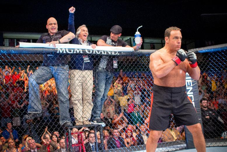 """This film image released by Columbia Picturers shows, from left, Bas Rutten, Henry Winkler,  Mark Dellagrotte and Kevin James in a scene from """"Here Comes the Boom."""" (AP Photo/Columbia-Sony Pictures, Tracy Bennett)"""
