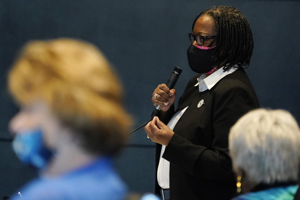 Virginia State Sen. Maime Locke, D-Hampton gestures during debate on a bill calling for the removal of the statue of former Senator Harry F. Byrd Sr. from Capitol Square during the Senate session at the Science Museum of Virginia in Richmond, Va., Tuesday, Feb. 23, 2021. The Senate passed the measure. (AP Photo/Steve Helber)