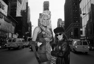 <p>Catherine McGann snapped this shot of RuPaul and Tommy Boy Records executive Monica Lynch in Times Square, N.Y.C., in November 1992.</p>