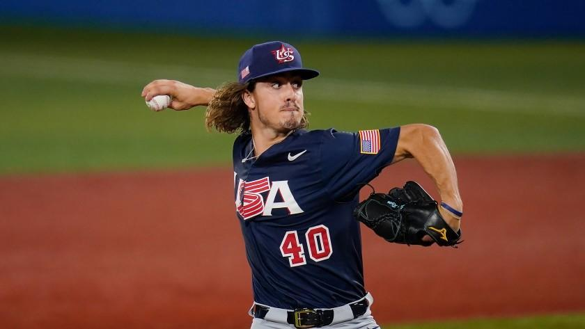 United States' Joe Ryan pitches during a baseball game against Israel.