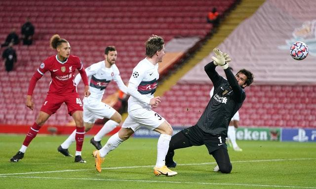 Midtjylland's Anders Dreyer went close to equalising just before Salah's goal (Jon Super/PA).