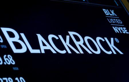 FILE PHOTO: The company logo and trading information for BlackRock is displayed on a screen on the floor of the New York Stock Exchange (NYSE) in New York, U.S., March 30, 2017. REUTERS/Brendan McDermid/File Photo