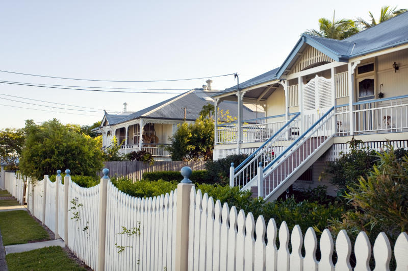 """Typical restored traditional domestic architecture in Brisbane, Australia. These types of houses are known as 'Queenslanders' and are built up off the ground because of the tropical climate."""