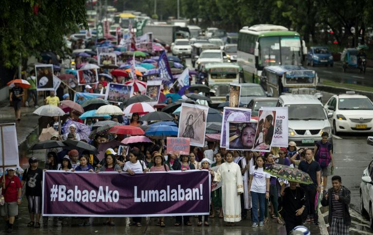 The independence day protest march was spurred by the president's repeated misogynistic words and deeds