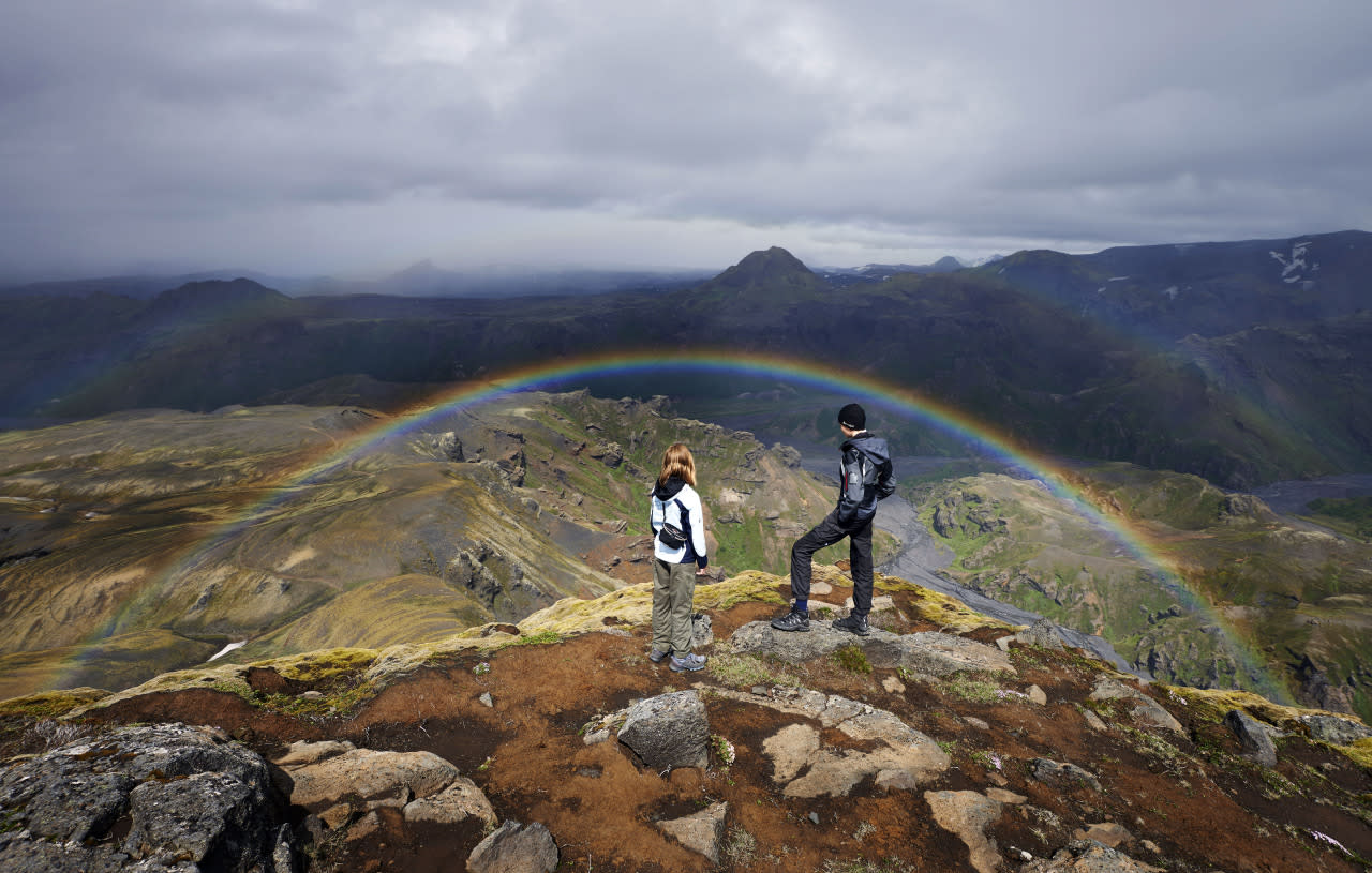 A landscape view of a rainbow appearing on Iceland's Laugavegur trek. (Michael Fersch/Caters News Agency)