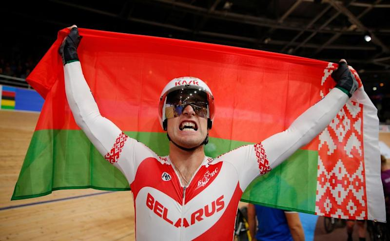 Belarus Yauheni Karaliok celebrates winning the mens 15 km Scratch Race final at the UCI track cycling World Championship at the velodrome in Berlin on February 27 2020 Photo by Odd ANDERSEN AFP Photo by ODD ANDERSENAFP via Getty Images