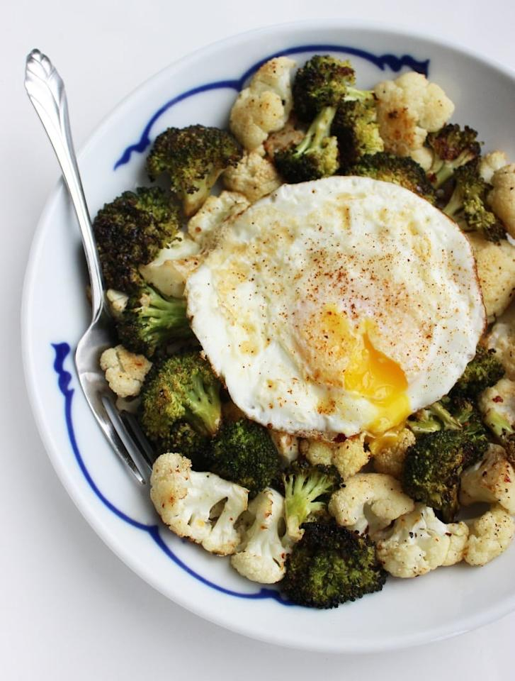"<p>For everyone who appreciates a little breakfast for dinner, this fried egg pairs deliciously with cauliflower and broccoli for a light and satisfying meal that will still fill you up. </p> <p><strong>Get the recipe:</strong> <a href=""https://www.popsugar.com/fitness/Egg-Vegetables-Recipe-36905717/"" class=""ga-track"" data-ga-category=""Related"" data-ga-label=""https://www.popsugar.com/fitness/Egg-Vegetables-Recipe-36905717/"" data-ga-action=""In-Line Links"">roasted veggie with easy fried egg</a></p>"