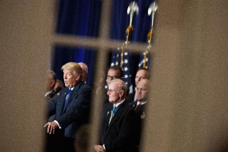 Republican presidential candidate Donald Trump speaks during a campaign event at Trump International Hotel, Friday, Sept. 16, 2016, in Washington. (AP Photo/ Evan Vucci)