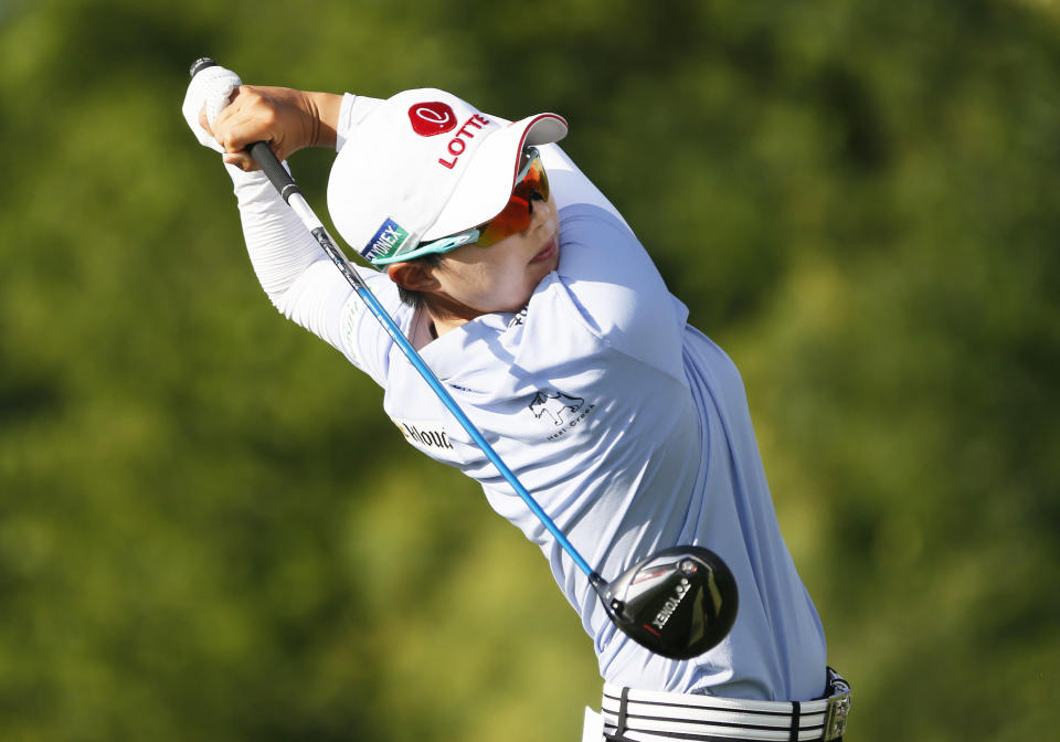 Hyo Joo Kim, of South Korea, during the second round of the LPGA Volunteers of America Classic golf tournament in The Colony, Texas, Friday, July 2, 2021. (AP Photo/Ray Carlin)